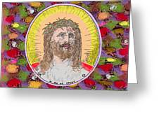 Colored Background Jesus Greeting Card