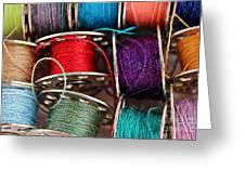 Colored Bobbins - Seamstress - Quilter Greeting Card