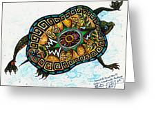 Colored Cultural Zoo C Eastern Woodlands Tortoise Greeting Card