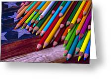 Colored Pencils On Wooden Flag Greeting Card