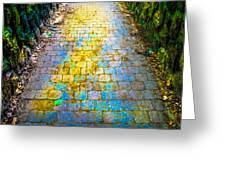 Colored Stones And Lichen Covered Bridge Greeting Card