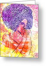 Colored Woman Greeting Card by Kenal Louis