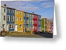 Colorful Apartment Buildings In Saint John's-nl Greeting Card