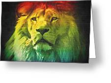 Colorful Artistic Portrait Of A Lion On Black Background  Greeting Card