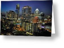 Colorful Austin Skyline At Night Greeting Card