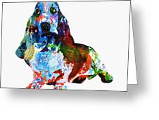 Colorful Basset Greeting Card