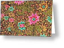 Colorful Batik Cloth Fabric Background  Greeting Card