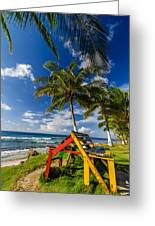 Colorful Bench On Caribbean Coast Greeting Card