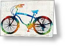 Colorful Bike Art - Free Spirit - By Sharon Cummings Greeting Card