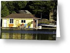 Colorful Boathouse Greeting Card