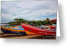 Colorful Boats And Lighthouse Greeting Card