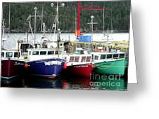 Colorful Boats Tied Up To The Wharf Greeting Card