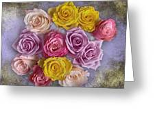 Colorful Bouquet Of Roses Greeting Card