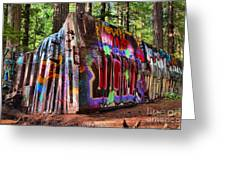 Colorful Box Car In The Forest Greeting Card