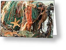 Colorful Catch - Starfish In Fishing Nets Square Greeting Card