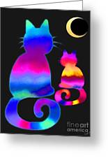 Colorful Cats And The Moon Greeting Card