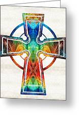 Colorful Celtic Cross By Sharon Cummings Greeting Card