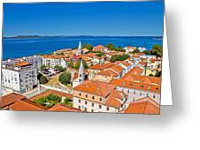 Colorful City Of Zadar Rooftops  Towers Greeting Card