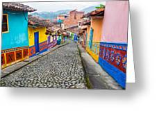 Colorful Cobblestone Street Greeting Card