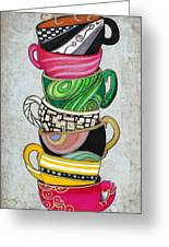 Colorful Coffee Cups Mugs Hot Cuppa Stacked II By Romi And Megan Greeting Card