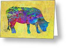 Colorful Cow Abstract Art Greeting Card