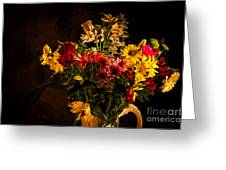 Colorful Cut Flowers In A Vase Greeting Card