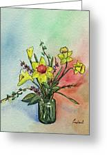 Colorful Daffodil Flowers In A Vase Greeting Card by Prashant Shah