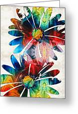 Colorful Daisy Art - Hip Daisies - By Sharon Cummings Greeting Card