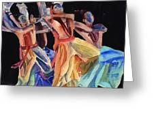 Colorful Dancers Greeting Card