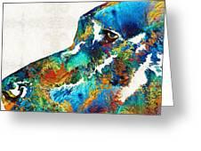 Colorful Dog Art - Loving Eyes - By Sharon Cummings  Greeting Card