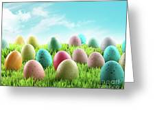 Colorful Easter Eggs In A Field Of Grass Greeting Card by Sandra Cunningham