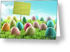 Colorful Easter Eggs With Sign In A Field Greeting Card