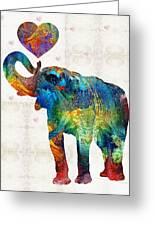 Colorful Elephant Art - Elovephant - By Sharon Cummings Greeting Card
