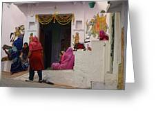 Colorful Family Gathering Ancestral Home Udaipur Rajasthan India Greeting Card