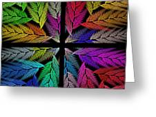 Colorful Feather Fern - 4 X 4 - Abstract - Fractal Art - Square Greeting Card