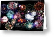 Colorful Fireworks Of Various Colors In Night Sky Greeting Card