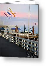 Colorful Flags And Wharf Greeting Card by Debra Thompson