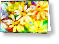 Colorful Floral Abstract - Digital Paint Greeting Card