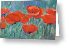 Colorful Flowers Red Poppies Beautiful Floral Art Greeting Card