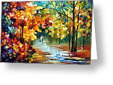 Colorful Forest - Palette Knife Oil Painting On Canvas By Leonid Afremov Greeting Card