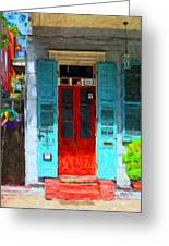 Colorful French Quarter Door  Greeting Card