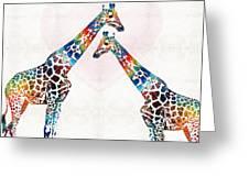 Colorful Giraffe Art - I've Got Your Back - By Sharon Cummings Greeting Card
