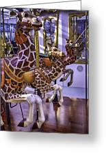 Colorful Giraffes Carrousel Greeting Card
