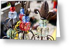 Colorful Glass And Metal Garden Ornaments Greeting Card