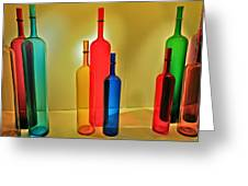 Colorful Glass Bottles Greeting Card