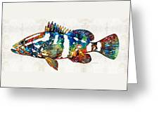 Colorful Grouper 2 Art Fish By Sharon Cummings Greeting Card