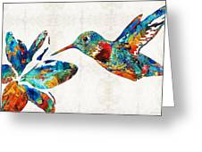 Colorful Hummingbird Art By Sharon Cummings Greeting Card