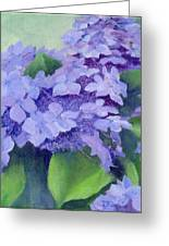 Colorful Hydrangeas Original Purple Floral Art Painting Garden Flower Floral Artist K. Joann Russell Greeting Card