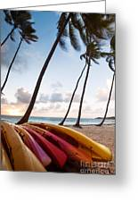 Colorful Kayaks On Beach In The Caribbean Greeting Card