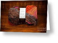 Colorful Knitting Yarn In A Wooden Box Greeting Card